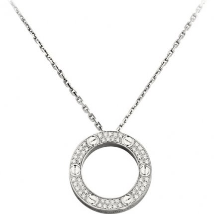 cartier replique love Collier or blanc Pavé de diamants pendentif