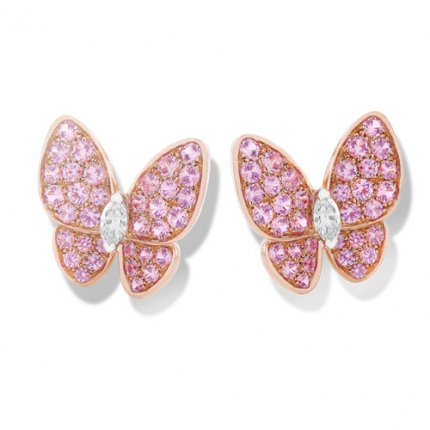 alhambra round pink sapphires replica van cleef & arpels marquise-cut diamonds earrings