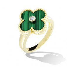 alhambra or jaune replique van cleef & arpels malachite with round diamond bague