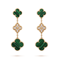alhambra or jaune replique van cleef & arpels malachite round Diamants boucles d'oreilles