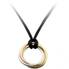 trinity de Cartier replica necklace 3-gold pendant black rope B3041200