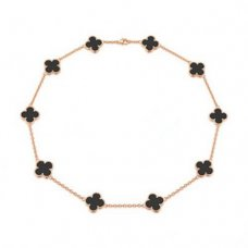 alhambra or rose faux van cleef & arpels onyx collier