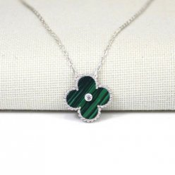 alhambra white gold fake van cleef & arpels malachite round diamond pendant