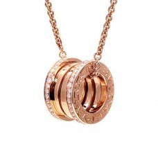Bvlgari B.ZERO1 replica necklace pink gold paved with diamonds pendant