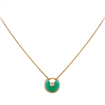 amulette de cartier fake yellow gold necklace chrysoprase diamond pendant