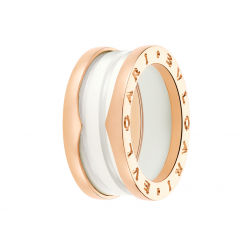 Bvlgari B.ZERO1 fake ring pink gold 3 band with white ceramic
