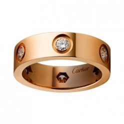 cartier copy love ring pink Gold 6 diamond wide version