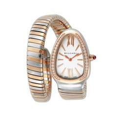 Bvlgari Serpenti Tubogas replique montre deux tons or blanc Avec des diamants
