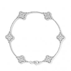 alhambra white gold replica van cleef & arpels 6 round diamonds bracelet