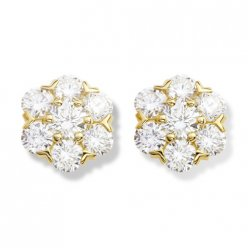 alhambra yellow gold fake van cleef & arpels round diamonds earrings