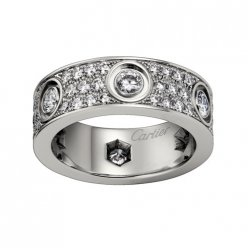 cartier fake love ring white gold cut diamonds wide version
