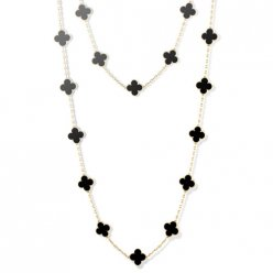 alhambra or jaune faux van cleef & arpels onyx long collier