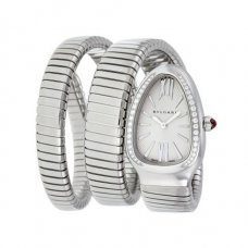 Bvlgari Serpenti Tubogas fake watch white gold Double helix with diamonds