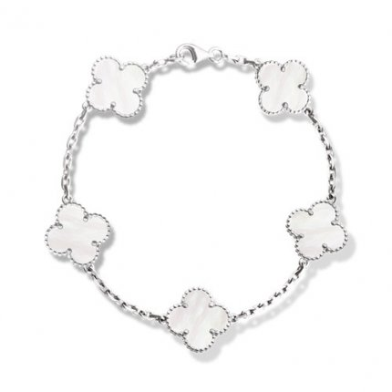 alhambra white gold replica van cleef & arpels white mother-of-pearl bracelet