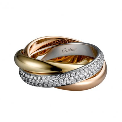 trinity de Cartier replica 3-gold Ring überdachter Diamant Mittlere Modelle B4038900