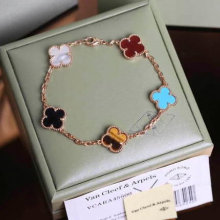 alhambra or rose replique van cleef & arpels carnelian onyx turquoise tiger's eye bracelet