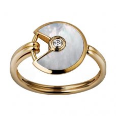 amulette de cartier replica yellow gold ring white mother-of-pearl diamond B4213300