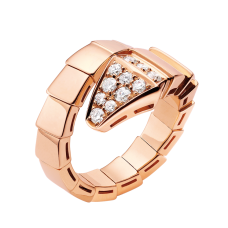 Bvlgari Serpenti replique bague Or rose bague Pavé de diamants