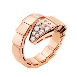 Bvlgari Serpenti replica ring pink gold ring paved with diamonds