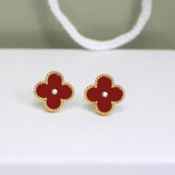 alhambra yellow gold fake van cleef & arpels carnelian round diamonds earrings