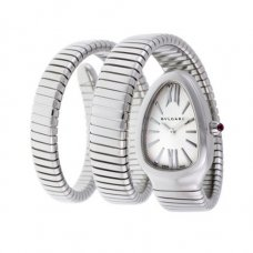 Bvlgari Serpenti Tubogas fake watch white gold 35mm curved steel case