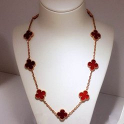 alhambra pink gold fake van cleef & arpels carnelian necklace