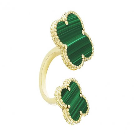 between the finger gelbgold replik van cleef & arpels malachite ring