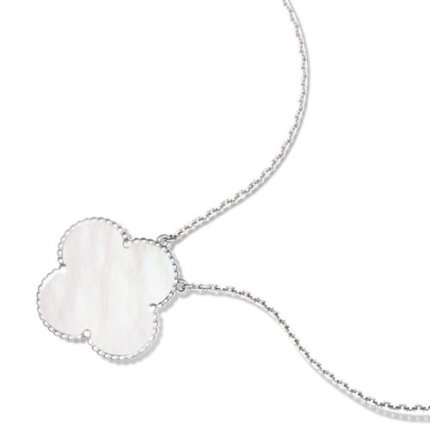 alhambra white gold fake van cleef & arpels white mother-of-pearl pendant