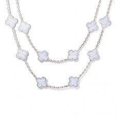 alhambra or blanc faux van cleef & arpels chalcedony long collier