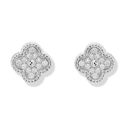 alhambra white gold fake van cleef & arpels round diamonds earrings