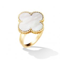 alhambra or jaune replique van cleef & arpels white mother-of-pearl bague