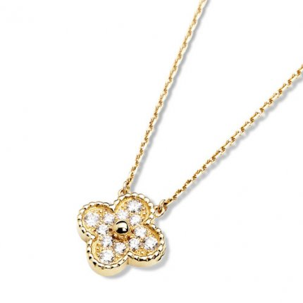 alhambra or jaune copie van cleef & arpels round Diamants pendentif