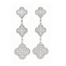 alhambra or blanc replique van cleef & arpels 6 clover Diamants boucles d'oreilles