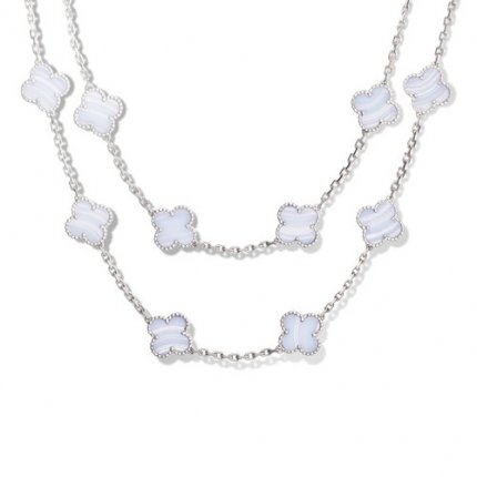 alhambra white gold fake van cleef & arpels chalcedony long necklace