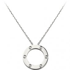cartier fake love necklace white gold with 6 Diamonds pendant