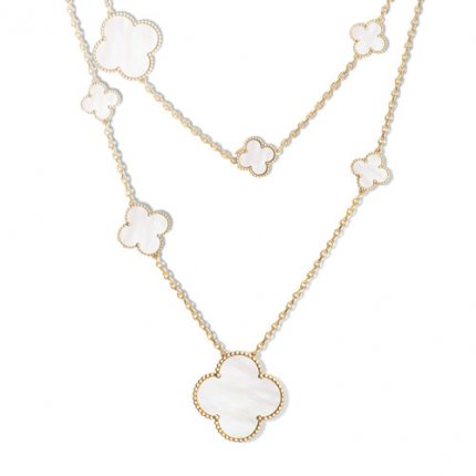 alhambra yellow gold fake van cleef & arpels white mother-of-pearl long necklace