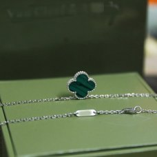 alhambra white gold fake van cleef & arpels malachite pendant