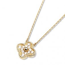 alhambra yellow gold copy van cleef & arpels round diamonds pendant