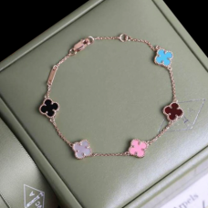 alhambra or rose replique van cleef & arpels pink mother-of-pearl onyx turquoise bracelet