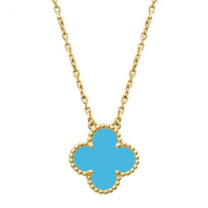 alhambra yellow gold fake van cleef & arpels turquoise pendant