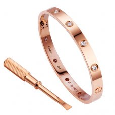 cartier copy love bracelet pink gold steel with 10 Diamonds