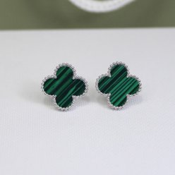 alhambra or blanc copie van cleef & arpels malachite boucles d'oreilles
