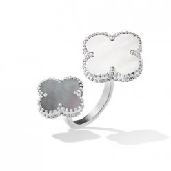 between the finger oro bianco imitazione van cleef & arpels white gold anello