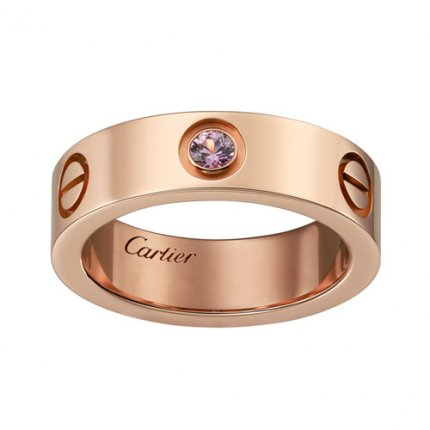 cartier replica love pink Gold ring pink sapphire wide version