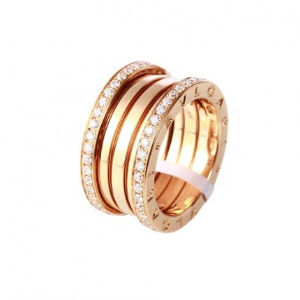 Bvlgari B.ZERO1 fake ring pink gold 4 band with pave diamonds