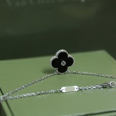 alhambra white gold copy van cleef & arpels onyx round diamond pendant