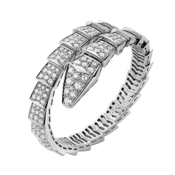 Bvlgari Serpenti faux Bracelet or blanc Hélice simple Couvert de diamants