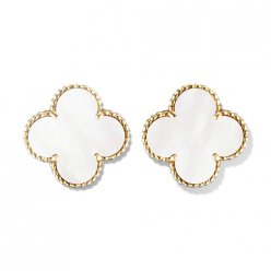 alhambra or jaune faux van cleef & arpels white mother-of-pearl boucles d'oreilles