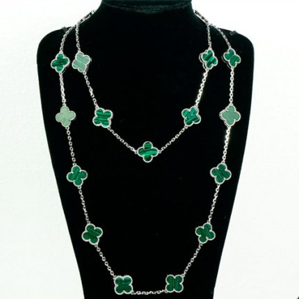 alhambra white gold replica van cleef & arpels malachite long necklace