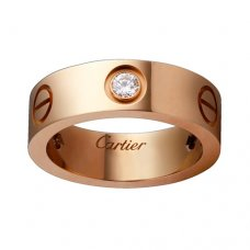 cartier copy love pink Gold ring mosaic three diamond wide version